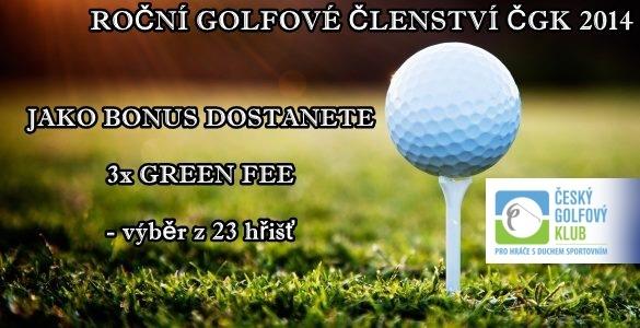 ČGK - roční golfové členství + 3 fee jako bonus s hrou i o víkendech, výběr z 23 hřišť = 1990 Kč