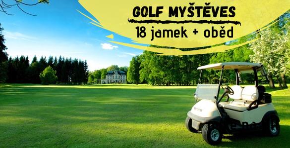 Královský golf v Myštěvsi: 18 jamek + oběd i o víkendu za 595 Kč