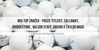 Sezona za chvíli klepe na dveře, doplňte si zásoby golfového střeliva! Výběrový mix TOP značek - pouze Titleist, Callaway, Bridgestone, Srixon, Wilson Staff a Taylor Made jen za 19,6 Kč /ks.