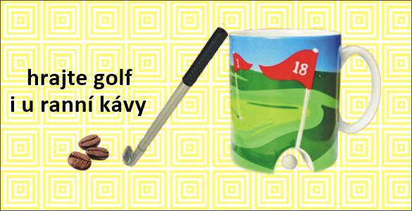 Golfový hrnek s jamkou a propiskou ve tvaru hole pro golfový trénink u ranní kávy