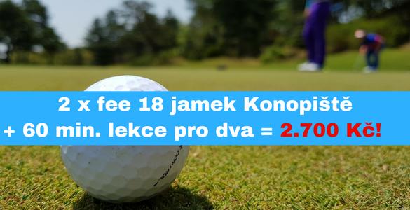 Green fee 18 jamek Konopiště + 60 min s profíkem PRO DVA = 1.350 Kč/osoba