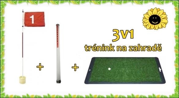 Golfový trénink na zahradě - drivingová podložka + jamka s praporkem + tuba na míče = 975 Kč