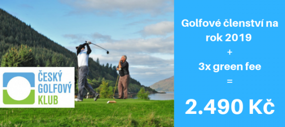 ČGK - NOVÁ VARIANTA: golfové členství na rok 2019 + 3x green fee k využití na 34 hřištích