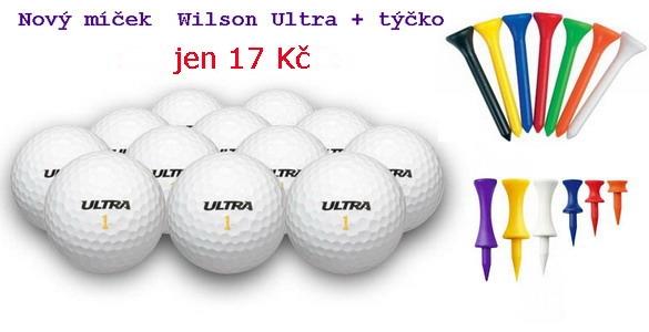 Wilson Ultra nový golfový míček + plastové týčko = 18 Kč. Libovolné množství se slevou 36%