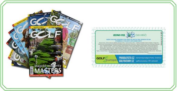 Časopis Golf - roční elektronické předplatné se slevou 41% + 6 kupónů 1fee = 2hráči jako bonus!