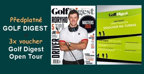 Golf Digest roční předplatné 10 čísel + voucher na 3 turnaje série Golf Digest Open 2016 jen za 2690 Kč