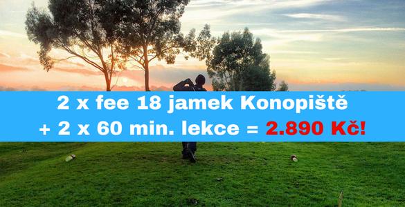 2x green fee 18 jamek Konopiště a 60 min s profíkem se slevou 42%
