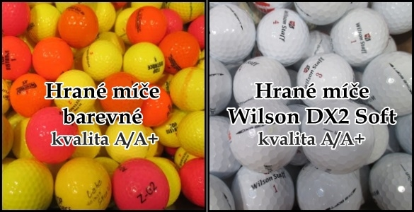 Hrané golfové míče v nejlepší kvalitě A/A+: barevné jen za 12,5 Kč nebo oblíbené Wilson Staff DX2 Soft za 16,5 Kč