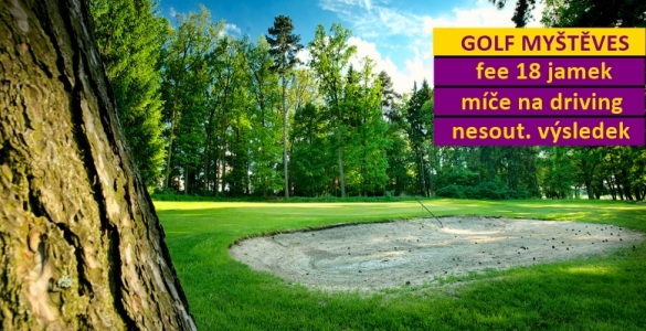Golf v královské Myštěvsi i o víkendech/svátcích - green fee 18 jamek + 2 koše míčů + hra na úpravu HCP - sleva 48%